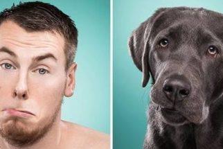 Em imagens, humanos tentam imitar expressões caninas