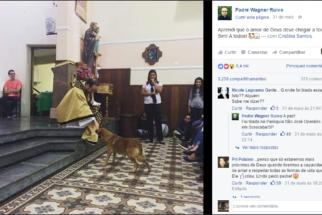 Cão entra em igreja durante sermão e recebe bênção de padre