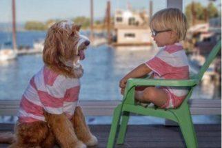Garoto e seu cachorro fazem sucesso por se vestirem iguais