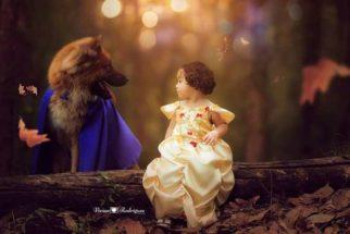 A Bela e a Fera vira tema de ensaio fotográfico de garotinha e cachorro