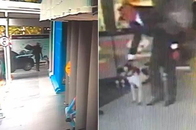 Imagens da câmera de segurança do supermercado